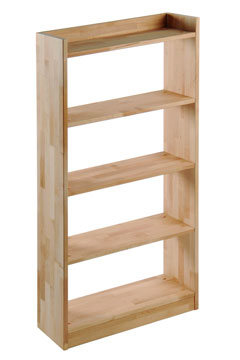 a wooden, open-backed bookcase